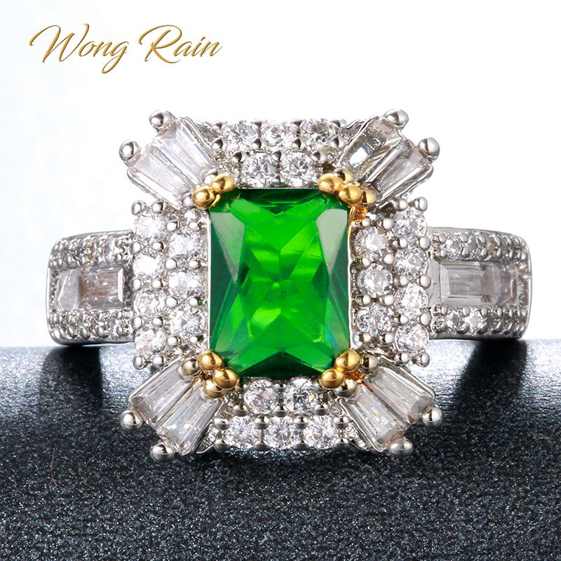 Wong Rain Vintage 100% 925 Sterling Silver Emerald Gemstone Wedding Engagement Party Ring Fine Jewelry Wholesale Drop Shipping