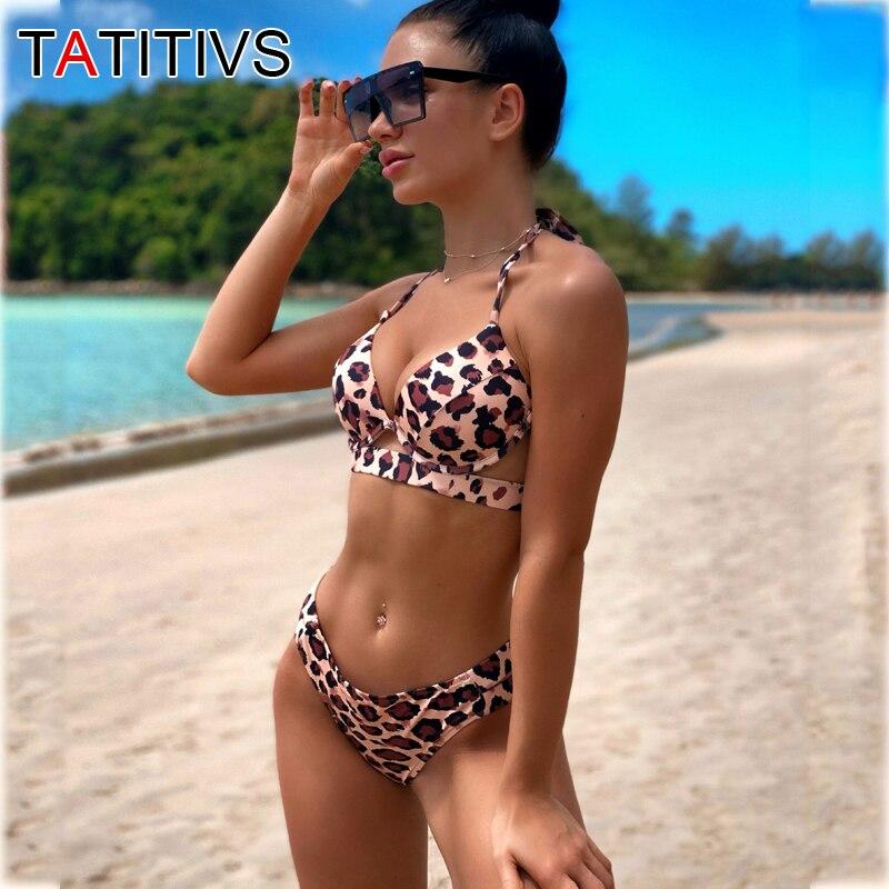 TATITIVS Sexy Leopard Bikinis Women Brazilian Swimsuit Strapless Bandage Bathing Suits Low Waist Push Up Bikini Set Swimwear