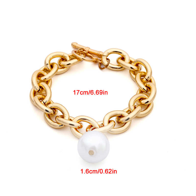Bohemian Steampunk Imitation Pearl Pendant Bracelet Bangle Punk Heavy Thick Chain Bracelet  Women Wedding Accessories
