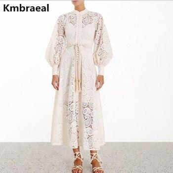 Kmbraeal alta calidad nuevo lujo mujer diseñador pasarela Maxi vestido largo 2019 otoño Femme Latern Single-B reated vestido de fiesta de encaje