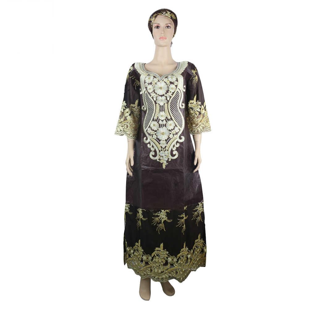 MD אפריקאי bazin riche נשים של שמלת מסורתי אפריקאי שמלות לנשים רקמת דאשיקי ארוך שמלה בתוספת גודל ליידי שמלות