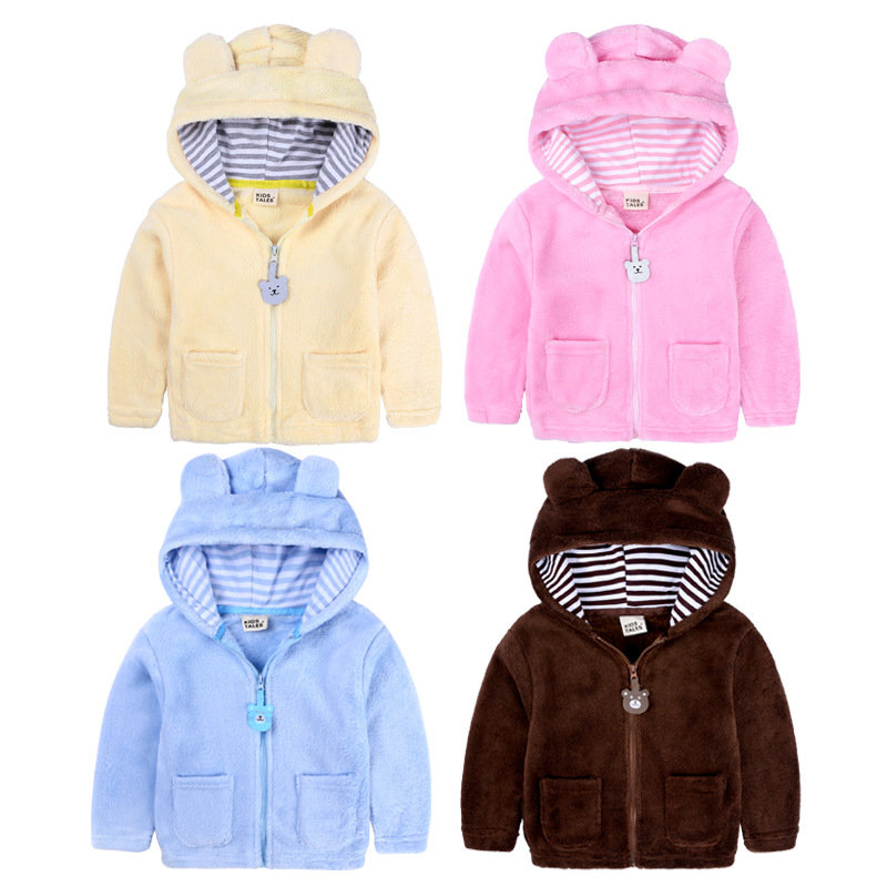 Spring Autumn Fleece Baby Hoodie Cute Bear Hooded Jacket For Boys Girls Infant Kids Outfit