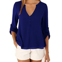 Fashion Casual Sexy Deep V Neck Button Slim Waist Long Sleeves Chiffon Blouse