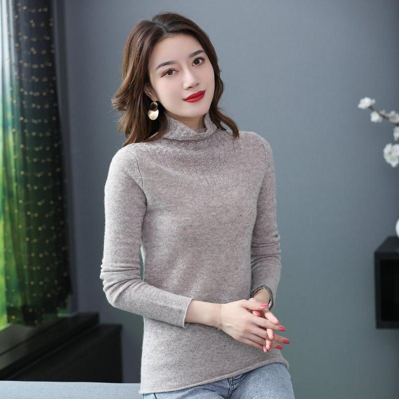 Femmes minimalistes mouton laine pull pulls col roulé doux chaud confort tricoté hauts multicolore couleur Pure tricots hiver