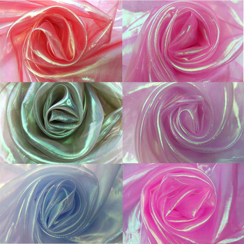 Laser tulle fabric organza Glass yarn colorful sewing mesh cloth Fluorescent silk chiffon stage clothing transparent SDF01