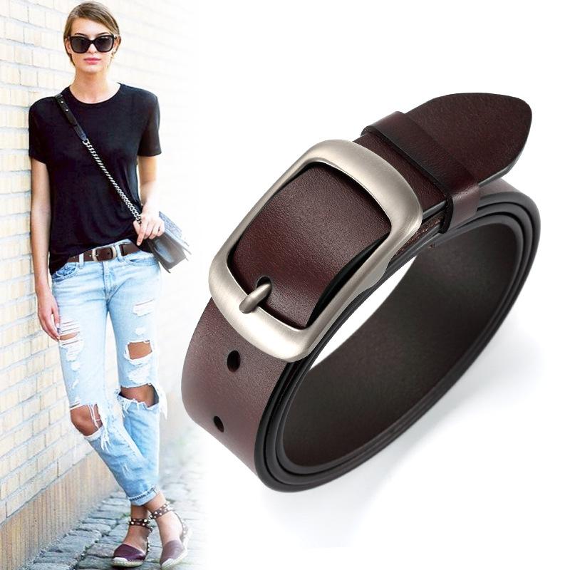 New women genuine leather belt for female jean strap casual all match ladies adjustable belt designer high quality brand girdle