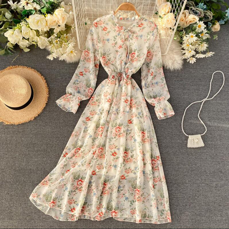2020 Spring Summer Long-sleeved Chiffon Dress Women Floral Ruffled Casual Dresses Elastic Waist Print Female Mid-calf Vestidos