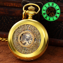 Hollow LED Luminous Mechanical Pocket Watch Luxury Hand Winding Watches Roman Numeral Fob Chain Pendants reloj de bolsillo mechanical pocket watch wheel horse case design roman numeral skeleton dial with chain mechanical hand wind movement fob watches