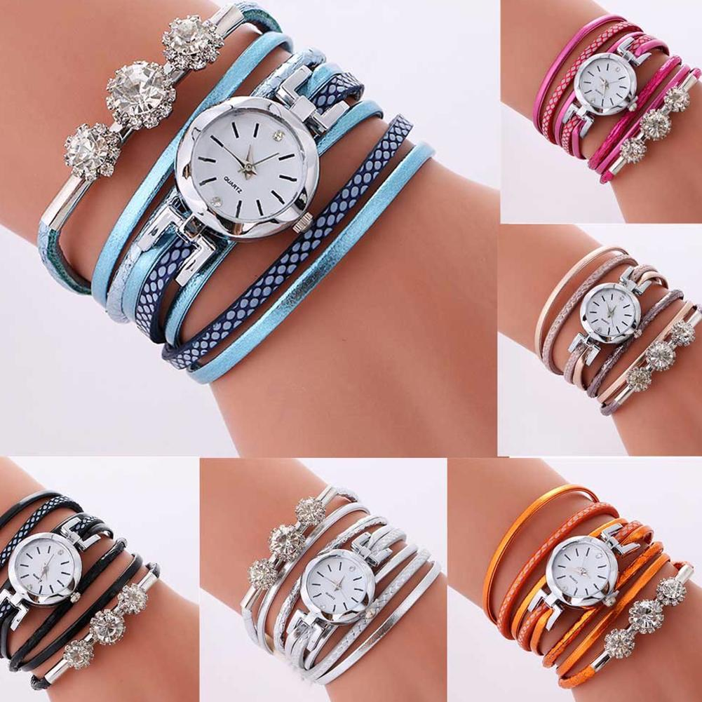 Роскошные женские Стразы с круглым циферблатом аналоговые кварцевые Многослойные наручные часы-браслет