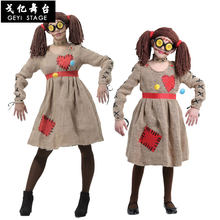 Halloween Adult Children Women Halloween Stage Performance Costume Linen Scarecrow Voodoo Doll Dress Up Costume(China)