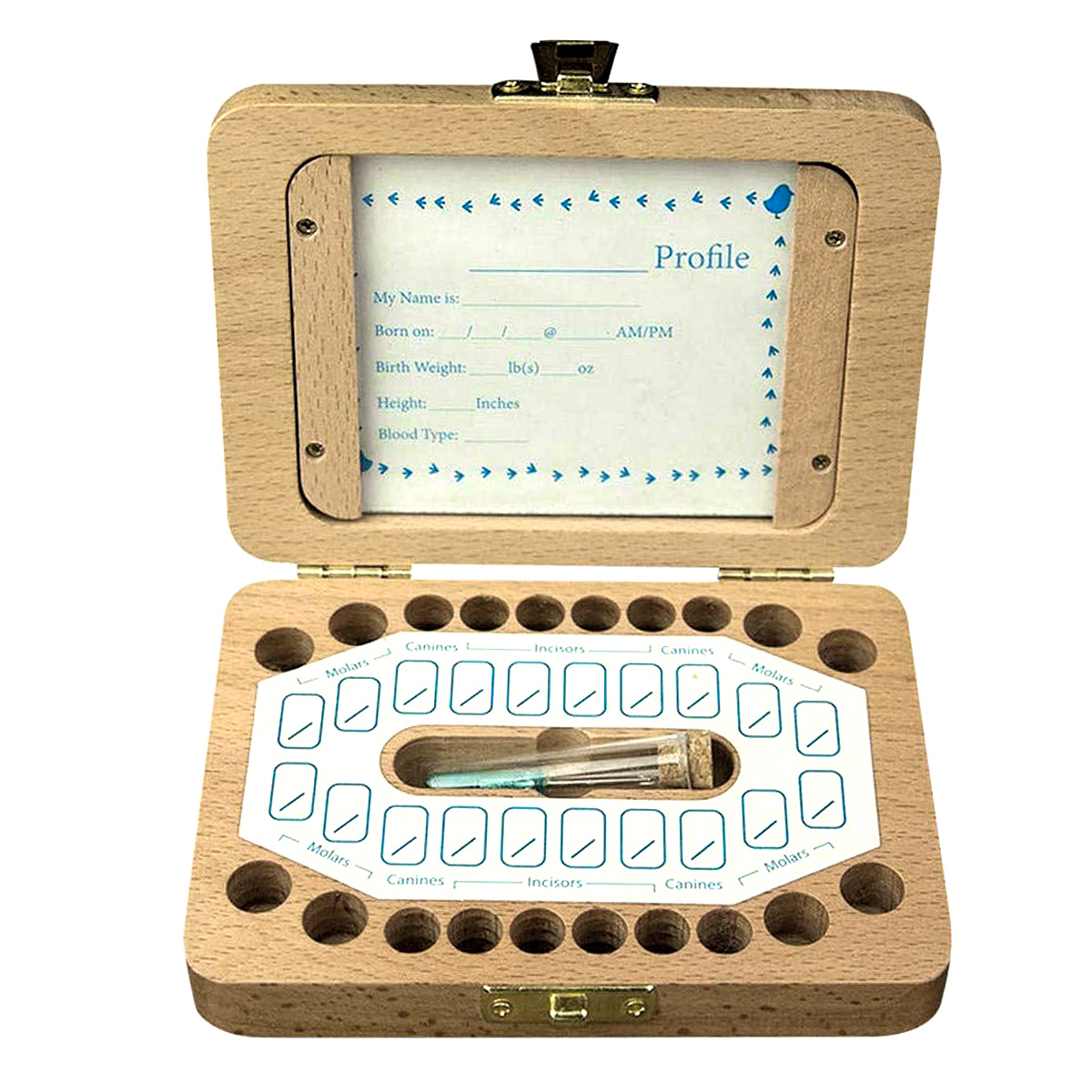 English Wood Baby Teeth Box Save Milk Teeth Wood Storage Collecting Teeth Umbilical Cord Lanugo Baby Souvenirs Baby Teeth Box
