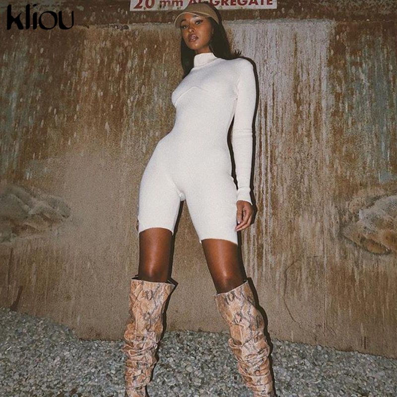 Kliou High Quality Elegant Solid Color Knitted Playsuit Bodycon Turtleneck 2020 Casual Street Elastic Jumpsuit Outfits Mujer