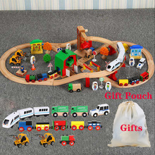 Wooden Train Track Set Kids Wooden Railway Puzzle Slot Transit Wood Rail Transit Wood Train Railway Electric Toy Trains For Kids mylitdear electric racing rail car kids train track model toy railway track racing road transportation building slot sets toys