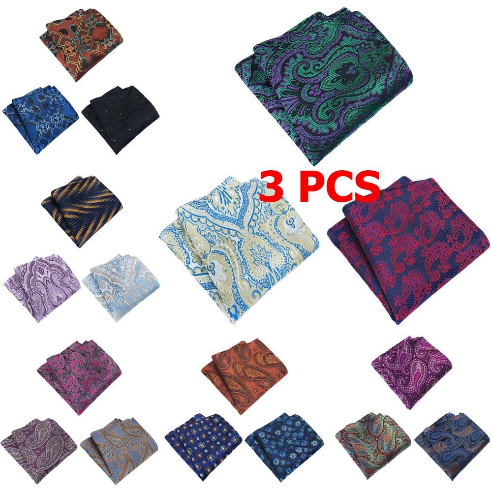 3 PCS Mens Classic Floral Paisley Pocket Square Handkerchief Wedding Party Hanky