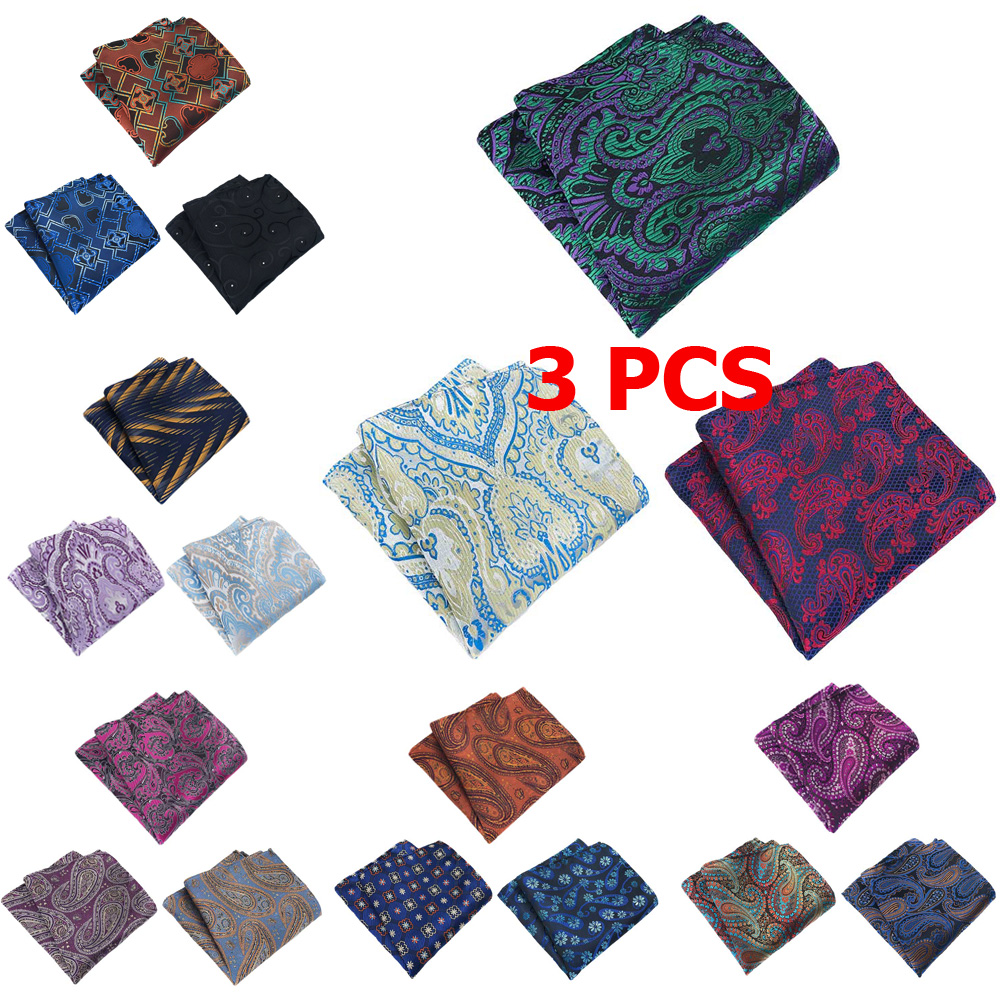 3 PCS Mens Paisley Flower Pocket Square Handkerchief Wedding Colorful Hanky