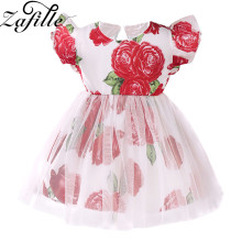 ZAFILLE Baby Dress Girls Clothing Cute Summer For Girl Floral Print Clothes Flare Sleeve Mesh Tutu
