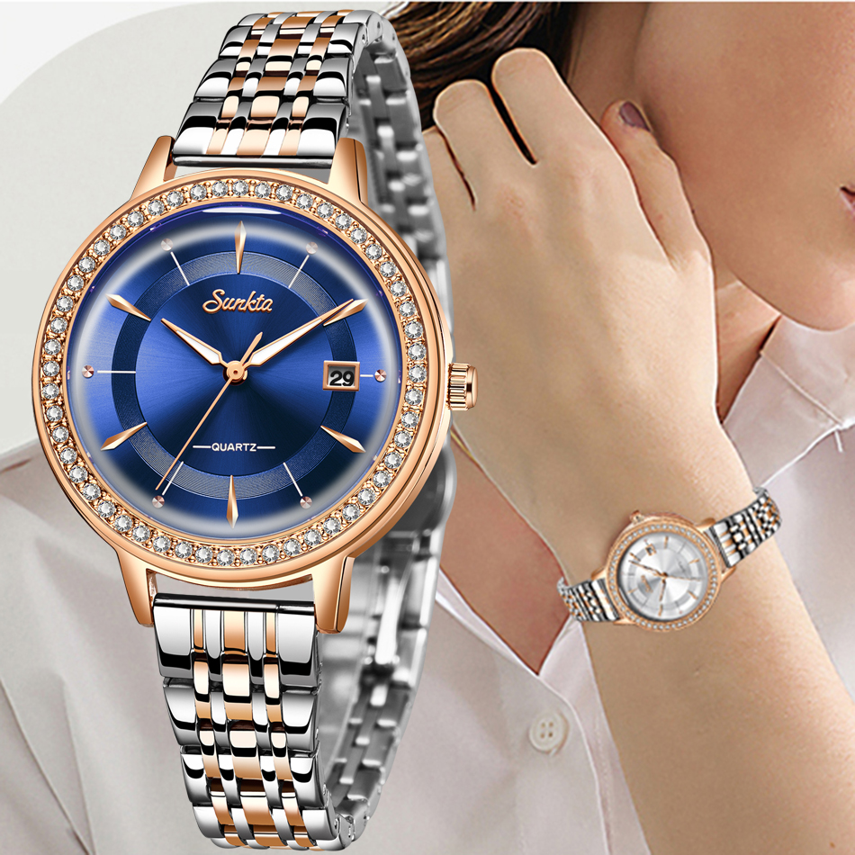 SUNKTA Elegant Woman Watch Luxury Brand Female Wristwatch Japan Movt 30M Waterproof Gold Expensive Analog Geneva Quartz Watch