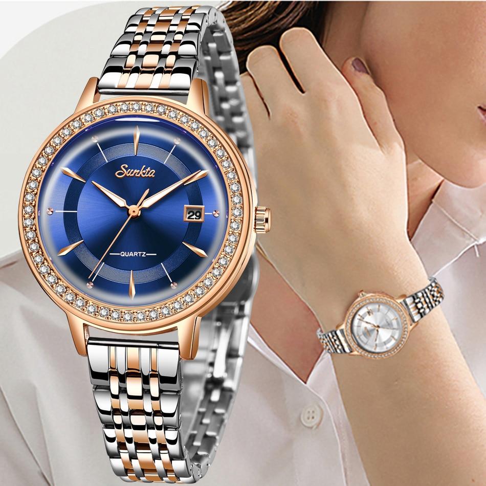 SUNKTA Elegant Woman Watch Luxury Brand Female Wristwatch Japan Movt 30M Waterproof Gold Expensive Analog Geneva Quartz Watch