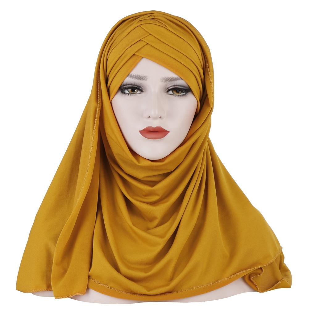 Muslim Fashion Two-piece Suite Women Hijab Scarf Hat Hijab/Scarf/Cap Full Cover Inner Cotton Islamic Head Wear Hat Underscarf