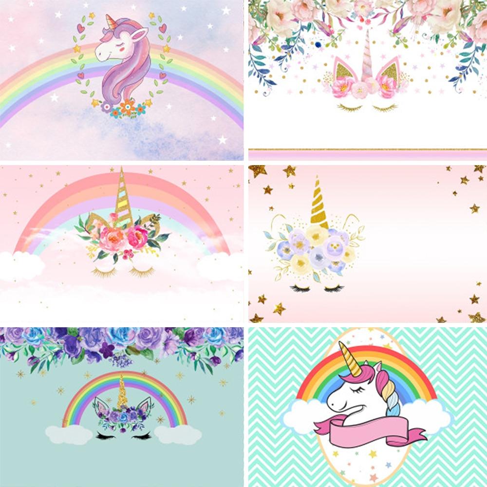 LEVOO фон для фотосъемки с изображением цветка в форме единорога День рождения Дети душ фотосессия фон Фотофон фото студийная съемка опора