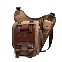 Bolso de estilo Retro Vintage para hombre, bolsa de lona para SILLÍN de cuero, bandolera de hombro, bolso de viaje para motocicleta