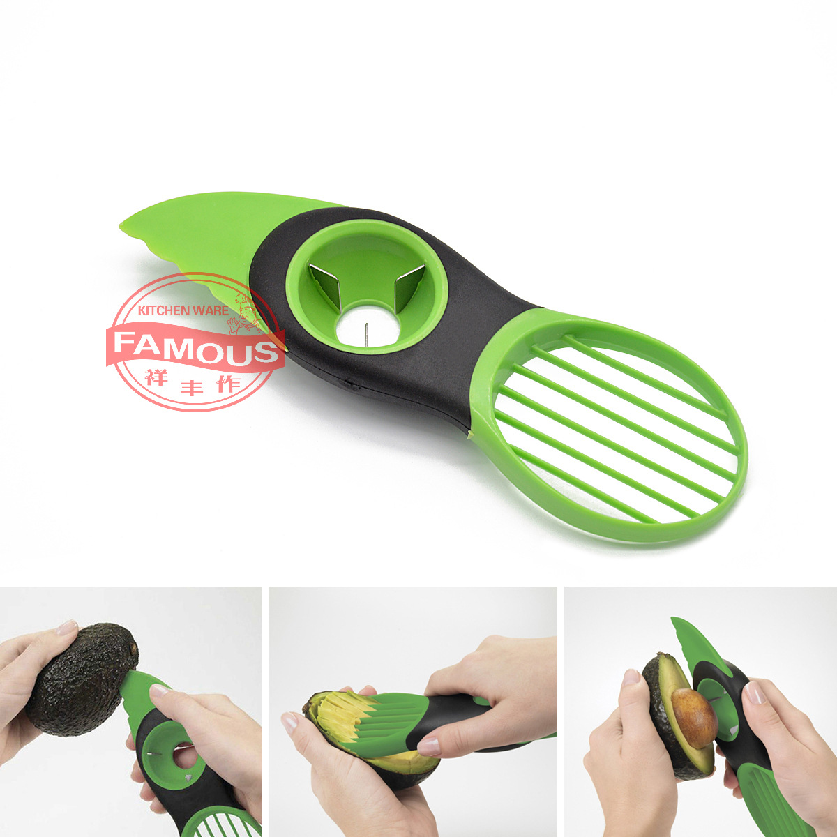 Hot Selling Multi-functional Avocado Cutter Fruit Splitter Three-in-One Avocado Corer
