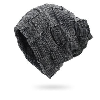 Zimowe męskie czapki z dzianiny utrzymuj ciepłe grube miękkie czapki akcesoria zimowe Skullies amp czapki męskie czapki czapki bawełna jesień tanie i dobre opinie cynewz Akrylowe Dla dorosłych Mężczyźni Na co dzień CN010 Plaid Skullies czapki Spring Autunm Winter One Size Winter Hat Scarf