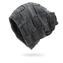 Zimowe męskie czapki z dzianiny utrzymuj ciepłe grube miękkie czapki akcesoria zimowe Skullies amp czapki męskie czapki czapki bawełna jesień tanie tanio cynewz Akrylowe Dla dorosłych Mężczyźni Na co dzień CN010 Plaid Skullies czapki Spring Autunm Winter One Size Winter Hat Scarf
