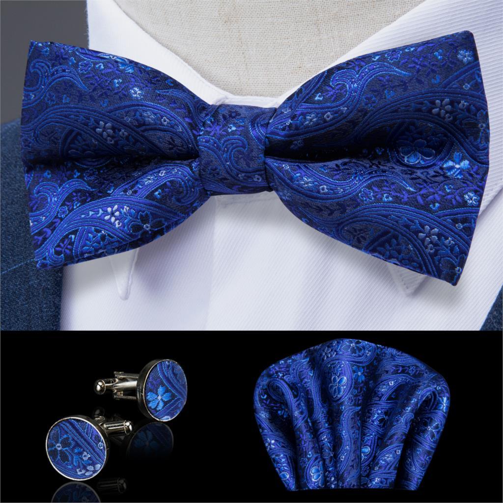 Men/'s Bowtie Bow Tie Pocket Square Set Handkerchief Hanky Wedding Party Solid