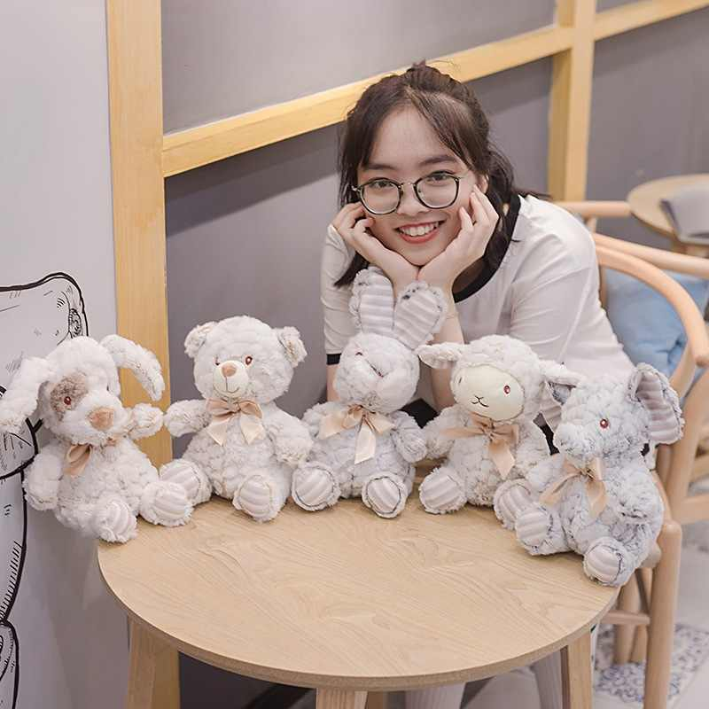 New 1PC Soft Hairy Elephant&Sheep&Rabbit Plush Toy Cartoon Animal Bear&Dog Stuffed Doll Baby Sleeping Toys Kids Birthday Gifts