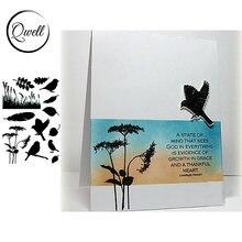 Qwell 4*6 дюймов прозрачные силиконовые марки Летающие птицы