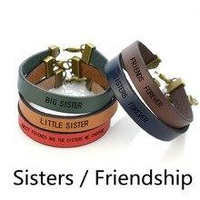 Best Friends Engraved Letters Punk Leather Bracelet Big Sister Little Wrap Jewelry Men Women Friendship Gifts