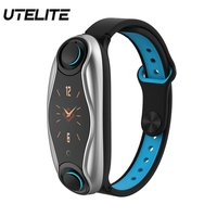 Pulsera deportiva UTELITE T90 Bluetooth 5 0 con auriculares inalámbricos IP67 reloj deportivo inteligente a prueba de agua reloj para teléfono Android IOS Relojes inteligentes    -
