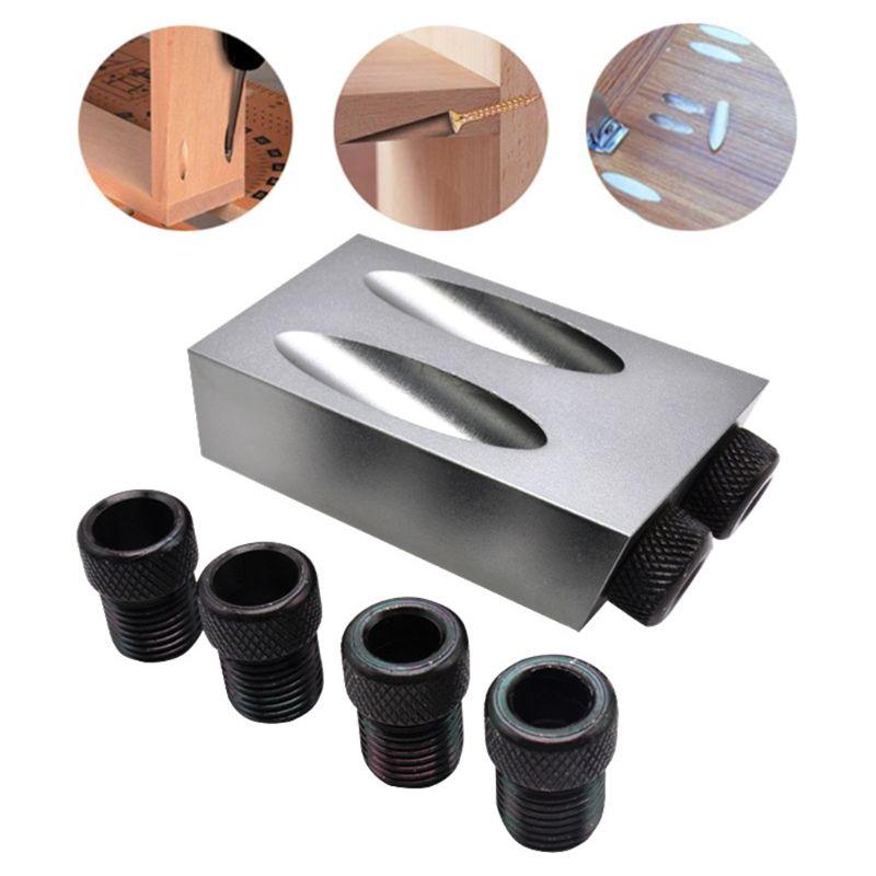 8 adet/takım ahşap cep delik Jig kiti 6/8/10mm 15 derece açı adaptörü matkap kılavuzu ağaç İşleme adaptörü DIY marangozluk aletleri|Ahşap Sıkma Makineleri|Aletler - title=