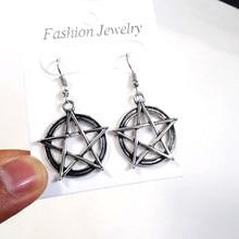 Boucles d'oreilles Vintage étoile pentagramme goutte Dangle pour femmes, gothique Wicca, bijoux supernaturels, déclaration gothique