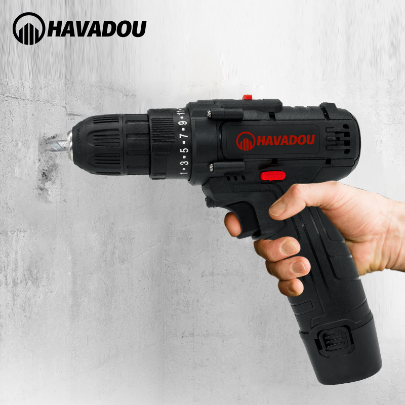 Tools : HAVADOU Torque Cordless Impact Electric Drill Screwdriver 12V 2 Speed Mini Power Driver