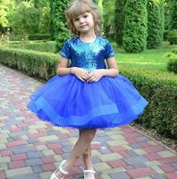 2020 New Baby Girls Dresses for Party Puffy Tulle Skirt Tutu Knee Length Kids Birthday Dresses with Bow