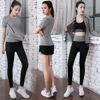 New lady suit female vertical collar zipper cardigan breathable gym five piece sportswear five piece five piece gym suit