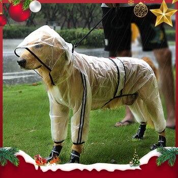 Chubasquero para mascotas HOOPET, impermeable transparente con capucha de cuatro pies para...