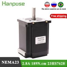 Il trasporto libero 1PCS Motore Passo passo Nema23 2.8A 189N.cm 4 piombo 23HS7628 motore Per 3D Apparecchiature Monitor di Stampante
