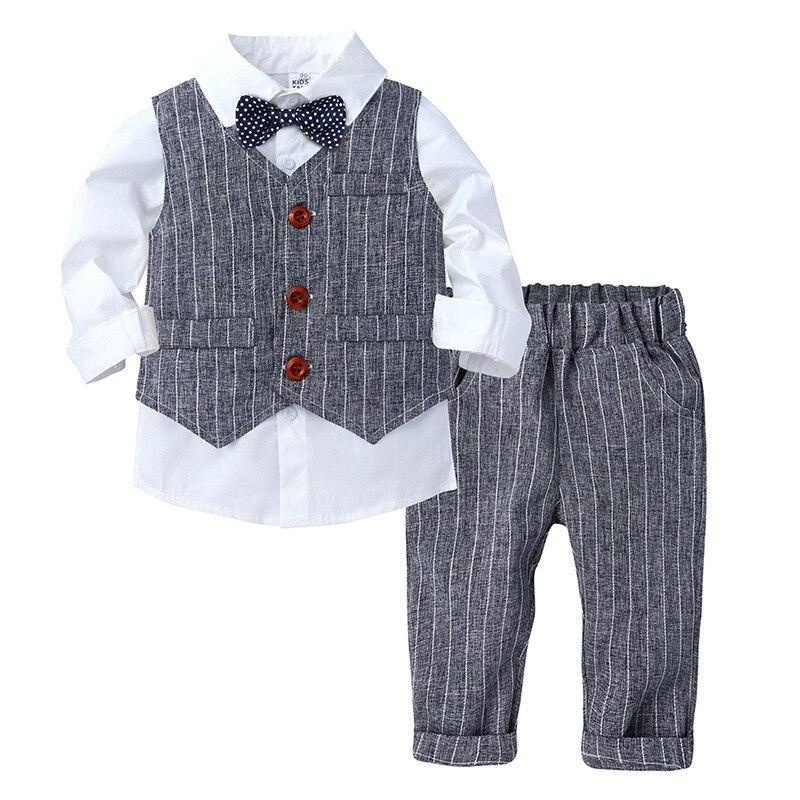 Striped Baby Suits Toddler Boy Clothes Kids Long Sleeve Shirt Buttons Vest Newborn Formal Sets Children's Suit Trousers 3pcs/set