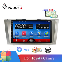 Podofo 2din Android HD Car Multimedia Player GPS Navigation WIFI Mirrorlink USB FM Audio Player For Toyota Camry Car Radio