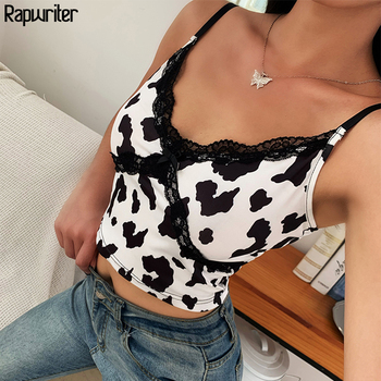 Rapwriter Vinrtage Lace Patckwork V Neck Milk Cow Print Strap Crop Tops Women 2020 Blackless Short Sexy Summer Tank Top Bow cami flower print double v neck cami top