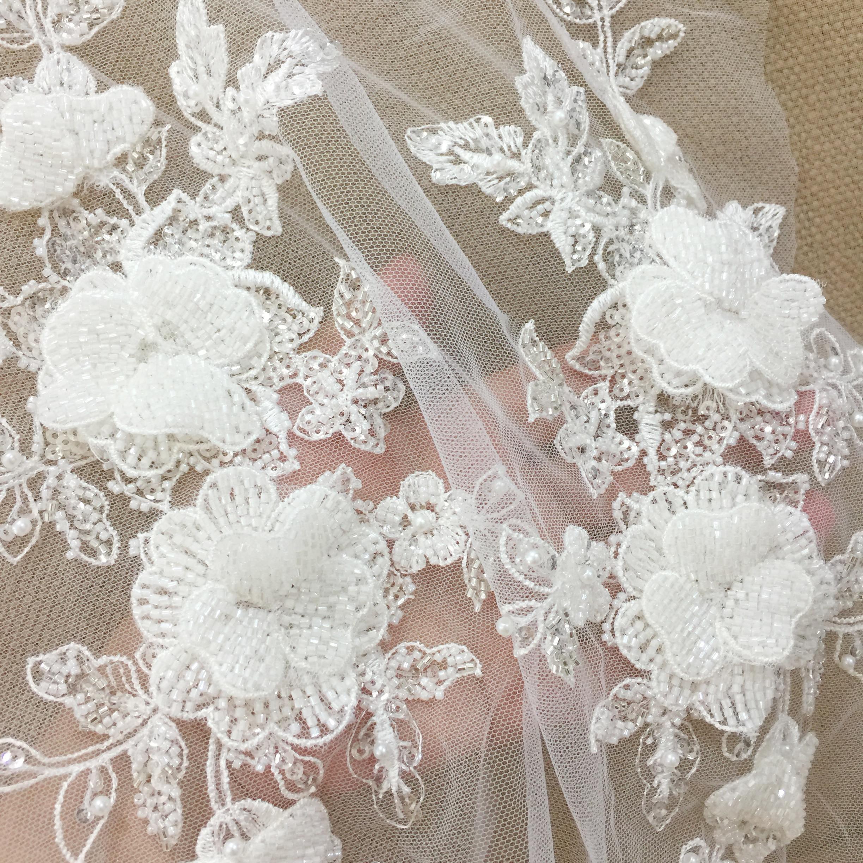 bridal wedding  dress Couture beading 3D motif Rhinestone Beaded patch P 71 Haute Couture Applique