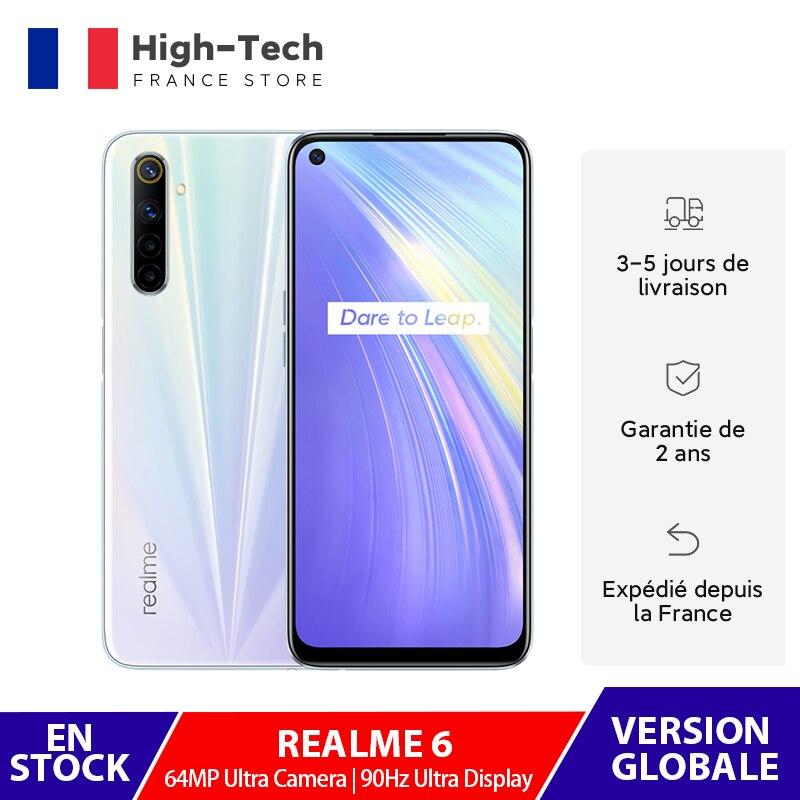 In Stock Realme 6 4GB RAM 128GB ROM Smartphone 90Hz Display 64MP AI Quad Camera 30W Flash Charge Helio G90T 4300mAh Cellphone