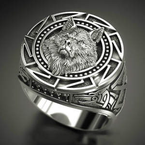 Men's Ring Wolf-Head Viking Mythology Thai Silver 925 Vintage Nordic Warrior Totem
