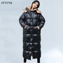 Top Quality Winter White Duck Down Coat Women Bread Thick Classic Fashion Hooded Black Puffer Jacket Female Long Parkas Ladies