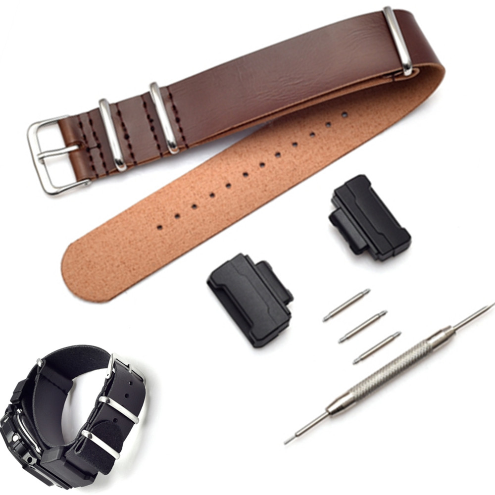Adapters 16mm 1 Pair Conversion And leather Watch Band Strap Kit For <font><b>G</b></font> <font><b>Shock</b></font> <font><b>DW</b></font>-<font><b>5600</b></font> 6900 9052 GW-M5610 <font><b>G</b></font>-<font><b>5600</b></font> GW-6900 GLS-890 image