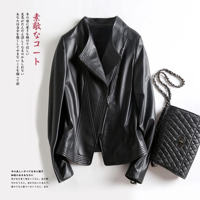 Nerazzurri High Quality Black Short Faux Leather Biker Jacket Women Long Sleeve 2020 Women Fashion Plus Size Coats Women 3xl-7xl