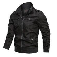 Cazadora de Piloto Militar con múltiples bolsillos para hombre, abrigos masculinos de estilo informal, con cuello levantado, prendas de vestir, cortavientos